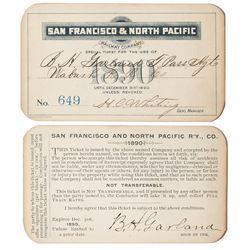 San Francisco & North Pacific Railway Annual Pass (1890)
