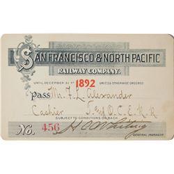 San Francisco & North Pacific Railway Annual Pass (1892)