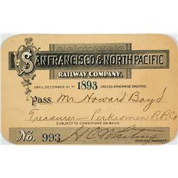 San Francisco & North Pacific Railway Annual Pass (1893)
