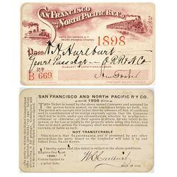 San Francisco & North Pacific Railway Annual Pass (1898)
