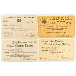 San Francisco, Napa & Calistoga Railway Pass Collection