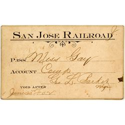 San Jose Railroad Annual Pass (1902)