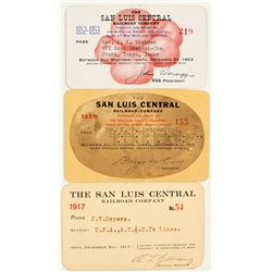 San Luis Central Railway Co. Annual Pass Trio