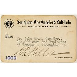 San Pedro, Los Angeles & Salt Lake Railroad Annual Pass Issued to John Ryan (1909)