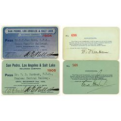 San Pedro, Los Angeles & Salt Lake Railroad Annual Passes (1904 & 1905)