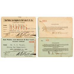 San Pedro, Los Angeles & Salt Lake Railroad Annual Passes (1905 & 1908)