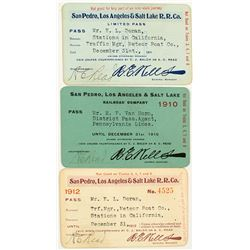 San Pedro, Los Angeles & Salt Lake Railroad Annual Passes (1910, 1911, & 1912)