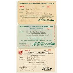 San Pedro, Los Angeles & Salt Lake Railroad Annual Passes (1911, 1912 & 1913)