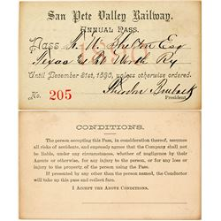 San Pete Valley Railway Annual Pass (1890) (Utah Coal Mining)