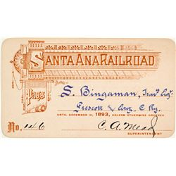 Santa Ana Railroad Annual Pass (1893)