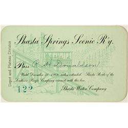 Shasta Springs Scenic Railway Annual Pass (1909)
