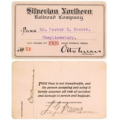 Silverton Northern Railroad Co. Annual Pass (1908) Signed by Otto Mears