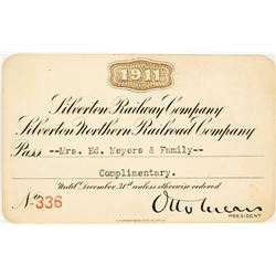 Silverton Railroad Co. and Silverton Northern Railroad Co. Annual Pass (1911)