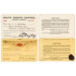 South Dakota Central Railway Annual Passes (1913 & 1915)