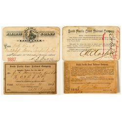 South Pacific Coast Railroad Co. Annual Passes (1883 & 1887)