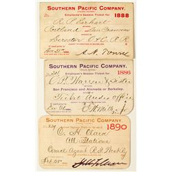 Southern Pacific Railroad Annual Passes (1880s & 1890s)