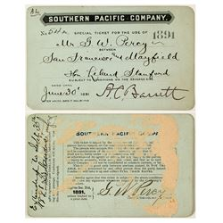 Southern Pacific Railroad Pass Issued to Famous SF Architect & Signed by Leland Stanford