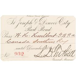St. Joseph & Denver City Railroad Annual Pass (1877)