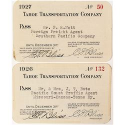 Tahoe Transportation Company Annual Passes (1926 & 1927)
