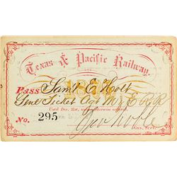 Texas & Pacific Railway Annual Pass (1875)