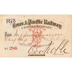 Texas & Pacific Railway Annual Pass (1878)