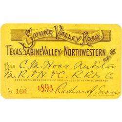 Texas, Sabine Valley & Northwestern Railway Co. Annual Pass (1893)