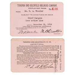 Tonopah & Goldfield Railroad Company Employee Pass (1914) Issued to Prominent Railroad Surgeon