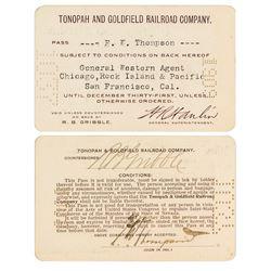 Tonopah & Goldfield Railroad Company Pass (1909)