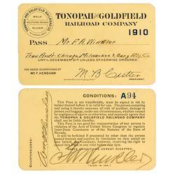 Tonopah & Goldfield Railroad Company Pass (1910)