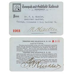 Tonopah & Goldfield Railroad Company Pass (1911)