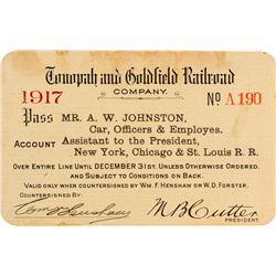 Tonopah & Goldfield Railroad Company Pass (1917)