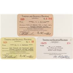 Tonopah & Goldfield Railroad Company Passes: 1925, 1928, & 1929