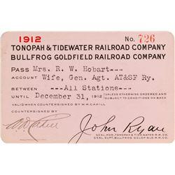 Tonopah & Tidewater Railroad Company / Bullfrog Goldfield RR Pass (1912)