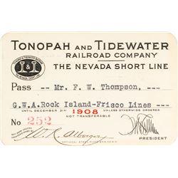 Tonopah & Tidewater Railroad Company Pass (1908)