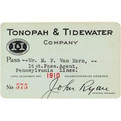 Tonopah & Tidewater Railroad Company Pass (1910)