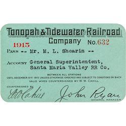 Tonopah & Tidewater Railroad Company Pass (1915)