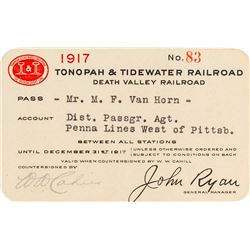 Tonopah & Tidewater Railroad Company Pass (1917) (Death Valley Railroad)