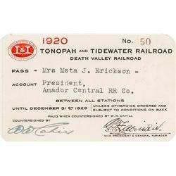 Tonopah & Tidewater Railroad Company Pass (1920) (Death Valley Railroad)
