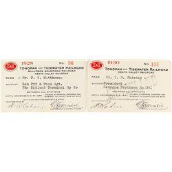 Tonopah & Tidewater Railroad Company Passes: 1928 & 1930