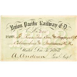 Union Pacific Railway Eastern Division Annual Pass (1868) (Where Buffalo Bill Got His Nickname)