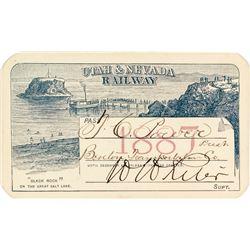 Utah & Nevada Railway Pass (1887) Issued to TC Power (Ft. Benton Indian Trader)