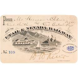 Utah & Nevada Railway Pass (1889) (Pictorial)