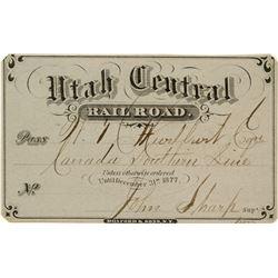 Utah Central Railroad Annual Pass (1877) Signed by Mormon Leader John Sharp
