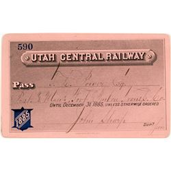 Utah Central Railway Annual Pass (1885) Issued to Montana Indian Trader/US Senator and Signed by Mor