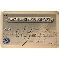 Utah Central Railway Annual Pass (1889) Signed by Mormon Leader John Sharp