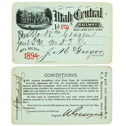 Utah Central Railway Annual Pass (1894)