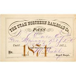 Utah Northern Railroad Co. Annual Pass (1874)