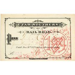 Utah Southern Railroad Annual Pass (1874)