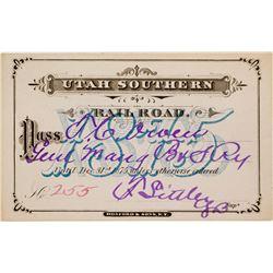Utah Southern Railroad Annual Pass (1875)