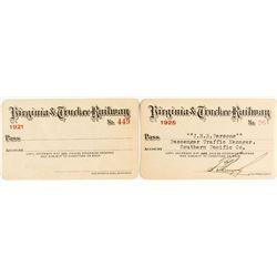 Virginia & Truckee Railway Annual Passes: 1921 & 1925
